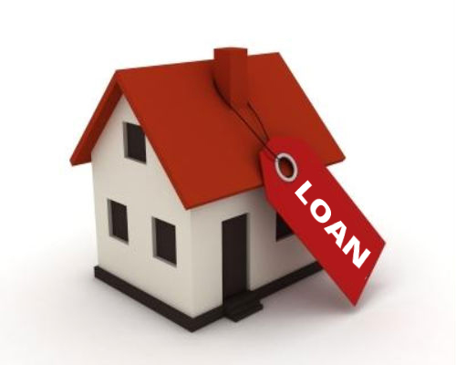 Small model house with a red roof and a price ticket with the word loan on it tied to the chimney on a white background - home mortgage tips