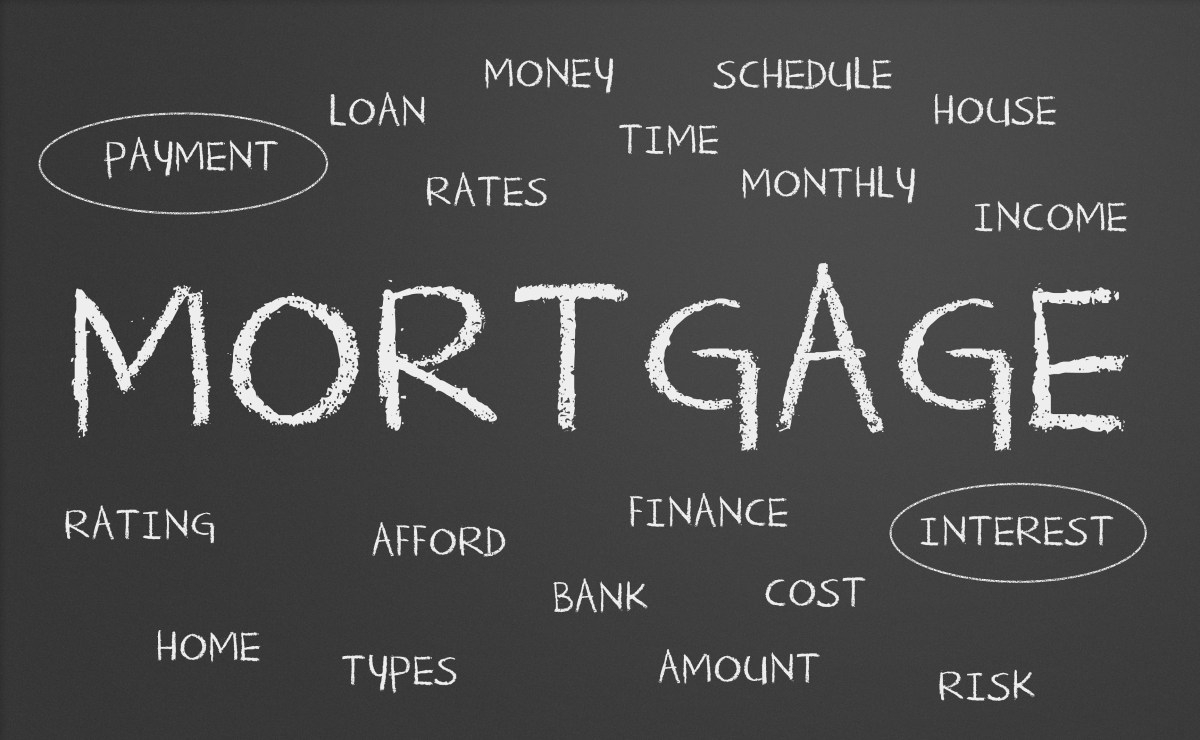 The word mortgage written in large letters on a large blackboard with a lot of smaller words relating to mortgages surrounding it - home mortgage tips